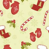 Seamless pattern with cute cartoon red stocking Stock Photos