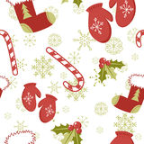 Seamless pattern with cute cartoon red stocking Stock Photo