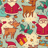 Seamless pattern with cute cartoon santa and christmas deer Royalty Free Stock Photography