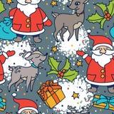 Seamless pattern with cute cartoon santa and christmas deer Royalty Free Stock Photos