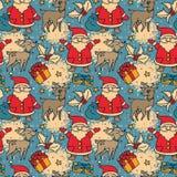 Seamless pattern with cute cartoon santa and christmas deer Royalty Free Stock Image