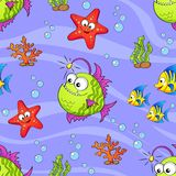 Seamless pattern with cute cartoon sea animals Royalty Free Stock Photography