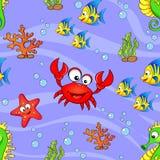 Seamless pattern with cute cartoon sea animals Royalty Free Stock Image