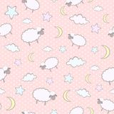 Seamless pattern with cute cartoon sheep, moon, clouds, stars Royalty Free Stock Photo