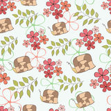 Seamless pattern cute cartoon snail and flowers Royalty Free Stock Photos