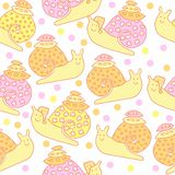 Seamless pattern with cute cartoon snails and their houses on white background. Stock Illustration