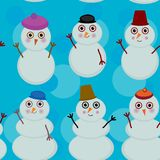 Seamless pattern cute cartoon snowmen on blue Stock Photo