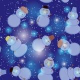 Seamless pattern cute cartoon snowmen on dark blue Royalty Free Stock Photos