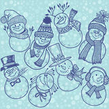 Seamless pattern with cute cartoon snowmen.  Vector illustration Stock Image