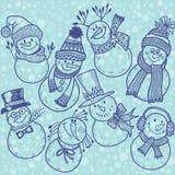 Seamless pattern with cute cartoon snowmen.  Vector illustration Stock Image