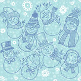 Seamless pattern with cute cartoon snowmen.  Vector illustration Stock Images