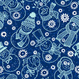 Seamless pattern with cute cartoon snowmen.  Vector illustration Royalty Free Stock Photo
