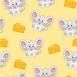 Seamless pattern Cute cartoon square grey mouse and cheese Royalty Free Stock Image