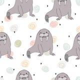 Seamless pattern with cute cartoon walrus. Printable templates stock illustration