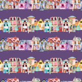 Seamless pattern with cute cartoon watercolor english houses in a row and trees Stock Image