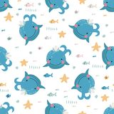 Seamless pattern with cute blue whales vector illustration