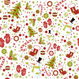 Seamless pattern with cute cartoon xmas mittens Stock Photography