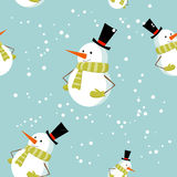 Seamless pattern with cute cartoon Xmas snowman Stock Photography