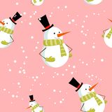 Seamless pattern with cute cartoon Xmas snowman Royalty Free Stock Image