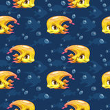 Seamless pattern with cute cartoon yellow fish. Seamless pattern with cute cartoon yellow girl fish, vector kids texture Stock Image