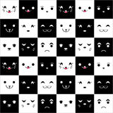 Seamless pattern with cute cartoonfaces Stock Photos