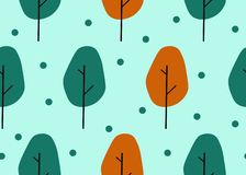 Seamless pattern with cute cartoonish trees.Colrful and funny stock illustration