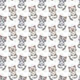 Seamless pattern of cute cat characters. Fishbone. Stock Photo