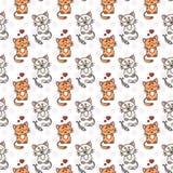 Seamless pattern of cute cat characters. Pet in love. Fishbone. Stock Image