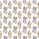 Seamless pattern of cute cat characters. Pet in love. Fishbone. Royalty Free Stock Image