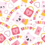 Seamless pattern of cute cat girl and Valentine elements  cartoon illustration for Valentine wrapping paper. Kid fabric clothes, and wallpaper Royalty Free Stock Photos