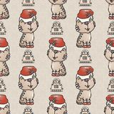 Seamless pattern with the cute cat with Santa hat. Stock Photo