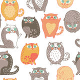 Seamless pattern with cute cats Stock Photo