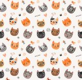 Seamless pattern with cute cats. Cute cats Seamless pattern with animals royalty free illustration
