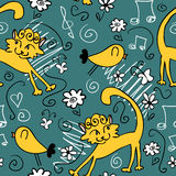 Seamless pattern with cute cats and birds Royalty Free Stock Photography