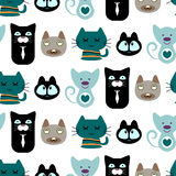 Seamless pattern with cute cats Stock Photography