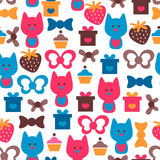 Seamless pattern with cute cats Stock Images
