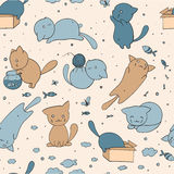 Seamless pattern with cute cats Stock Image