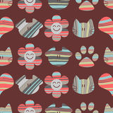 Seamless pattern with cute cats and dogs Royalty Free Stock Images