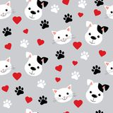Seamless pattern with cute cats and dogs. Lovely vector illustration and design for fabrics, textile, wallpaper and background for royalty free illustration
