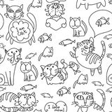Seamless pattern of cute cats. With fish style doodle, sketch. For your design Stock Image