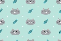 Seamless pattern with cute cats and fish Royalty Free Stock Photos