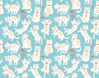 Seamless pattern with cute cats. Seamless pattern with funny cats vector illustration