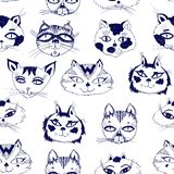 Seamless pattern with cute cats heads emoticons. Hand drawn kitten background vector isolated. Doodle style feline drawings for pet lovers. Breeds and stock illustration