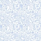 Seamless pattern with cute cats line drawing. Playful kitten blue background, cat sleeping in box, play with computer. Aquarium. Funny pet hand-drawn vector illustration