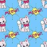 Seamless pattern with cute cats and MEOW saying. Vector illustration  Royalty Free Stock Images
