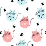 Seamless pattern with cute cats in scandinavian style royalty free illustration