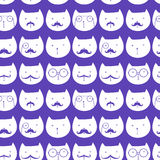 Seamless pattern with cute cats. Vector. easy to scale and modify Royalty Free Stock Photography