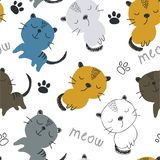 Seamless pattern with cute cats. vector illustration for textile,fabric royalty free illustration