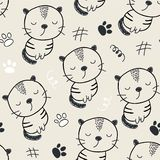 Seamless pattern with cute cats. vector illustration for textile,fabric.  stock illustration