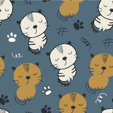 Seamless pattern with cute cats. vector illustration for textile,fabric. royalty free stock photography